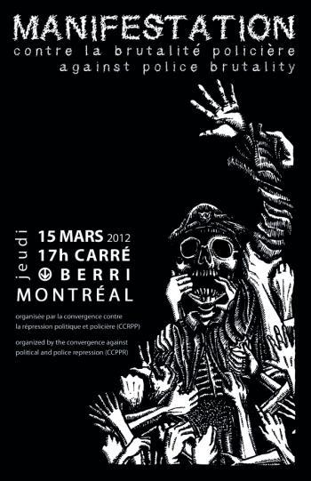 Affiche de la manifestation du 15 mars 2012 contre la violence policière à Montréal