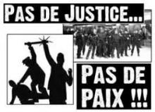 Appel de textes et d\'organisation d\'activités : PAS DE JUSTICE ? PAS DE PAIX ! ***** Call for submissions of texts and activities: NO JUSTICE? NO PEACE!